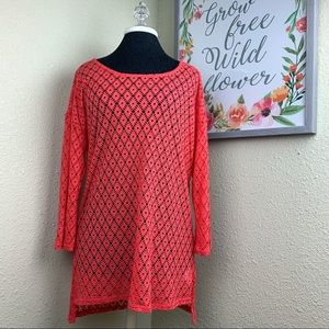 Pink Coral Lace Trim -Long Sleeve Tunic